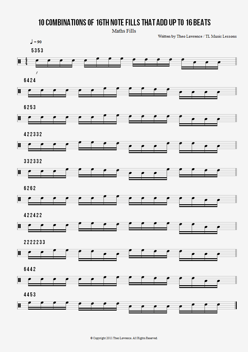 10 Maths Drum Fills – Number Combinations adding up to 16