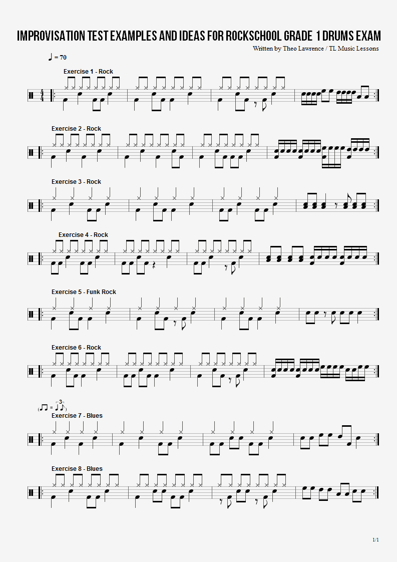 Improvisation Test examples and ideas for Rockschool Grade 1 Drums exam
