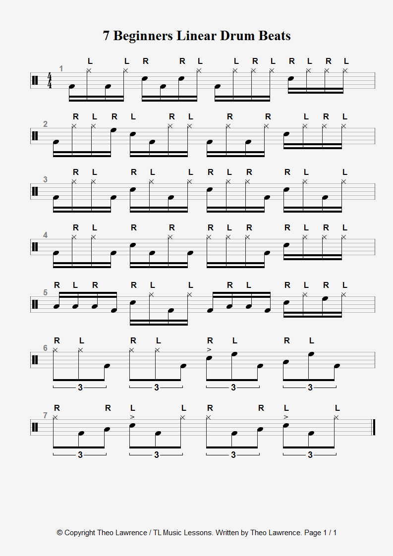 7 Linear drum beats for beginners – and the Mieze·Katze drum beat