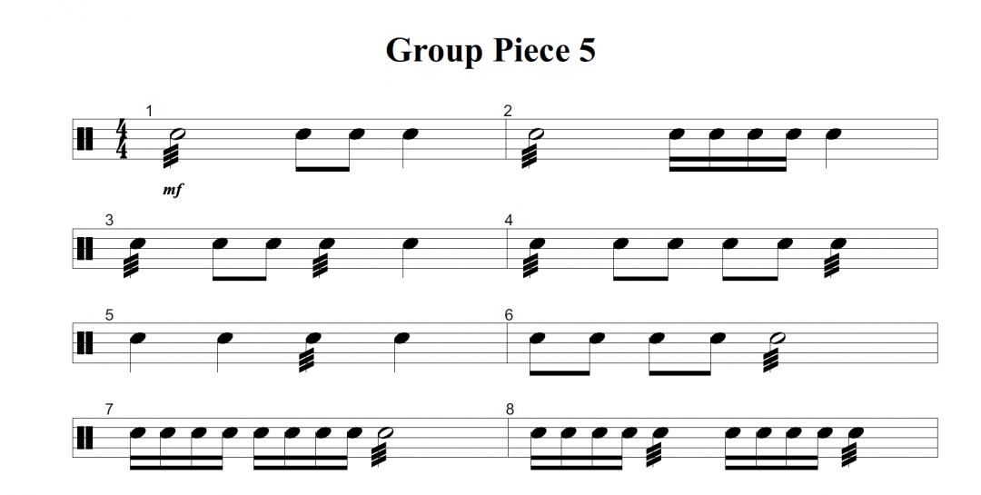 Group snare drum piece with 3 difficulty levels (Piece 5, Book 1)