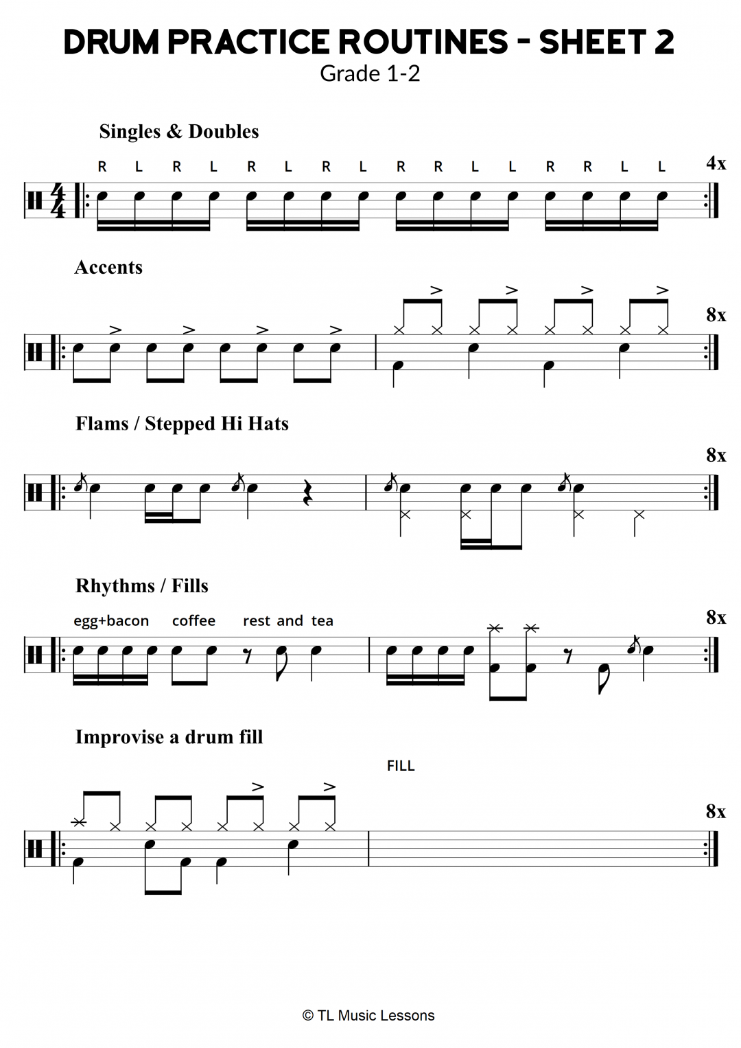 Drum Practice Routines – Sheet 2 – Grade 1-2