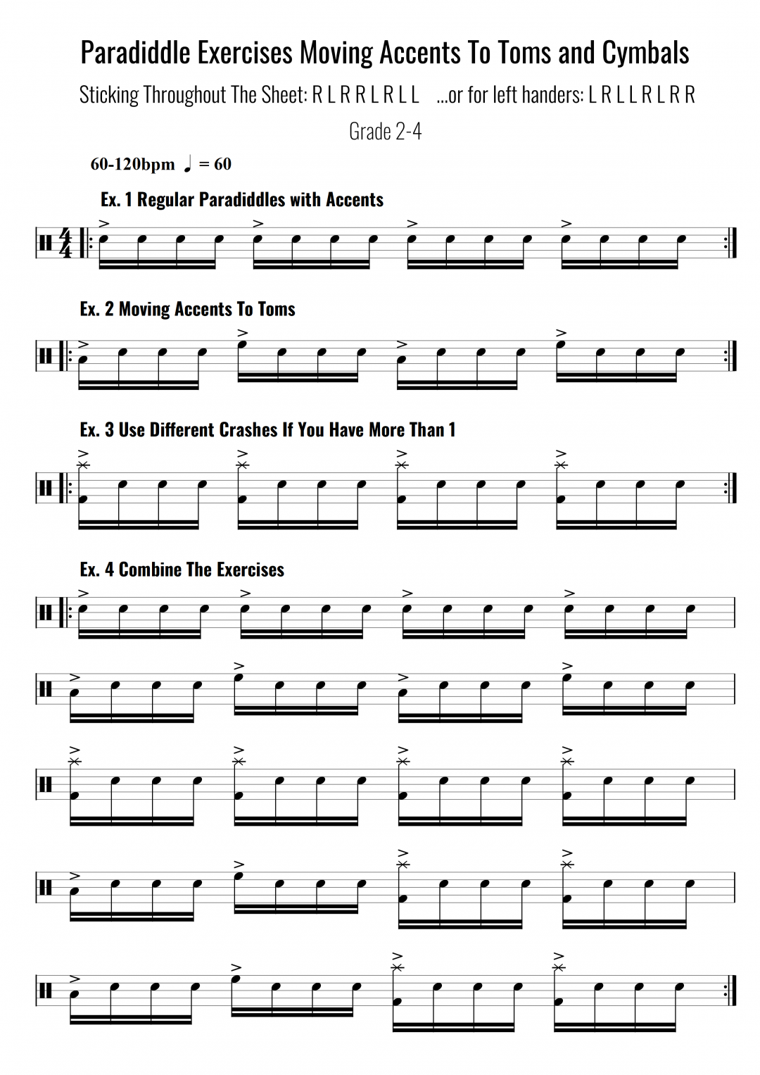Paradiddle Exercises Moving Accents To Toms and Cymbals
