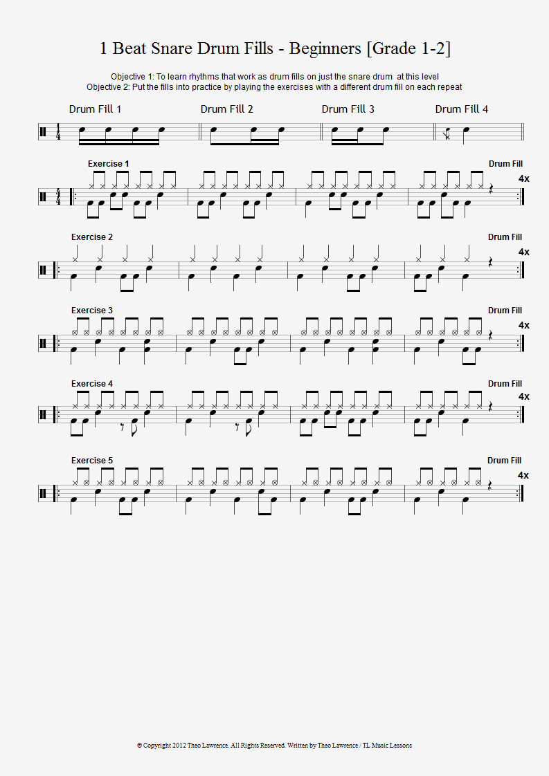1 Beat Snare Drum Fills with drum beats exercises