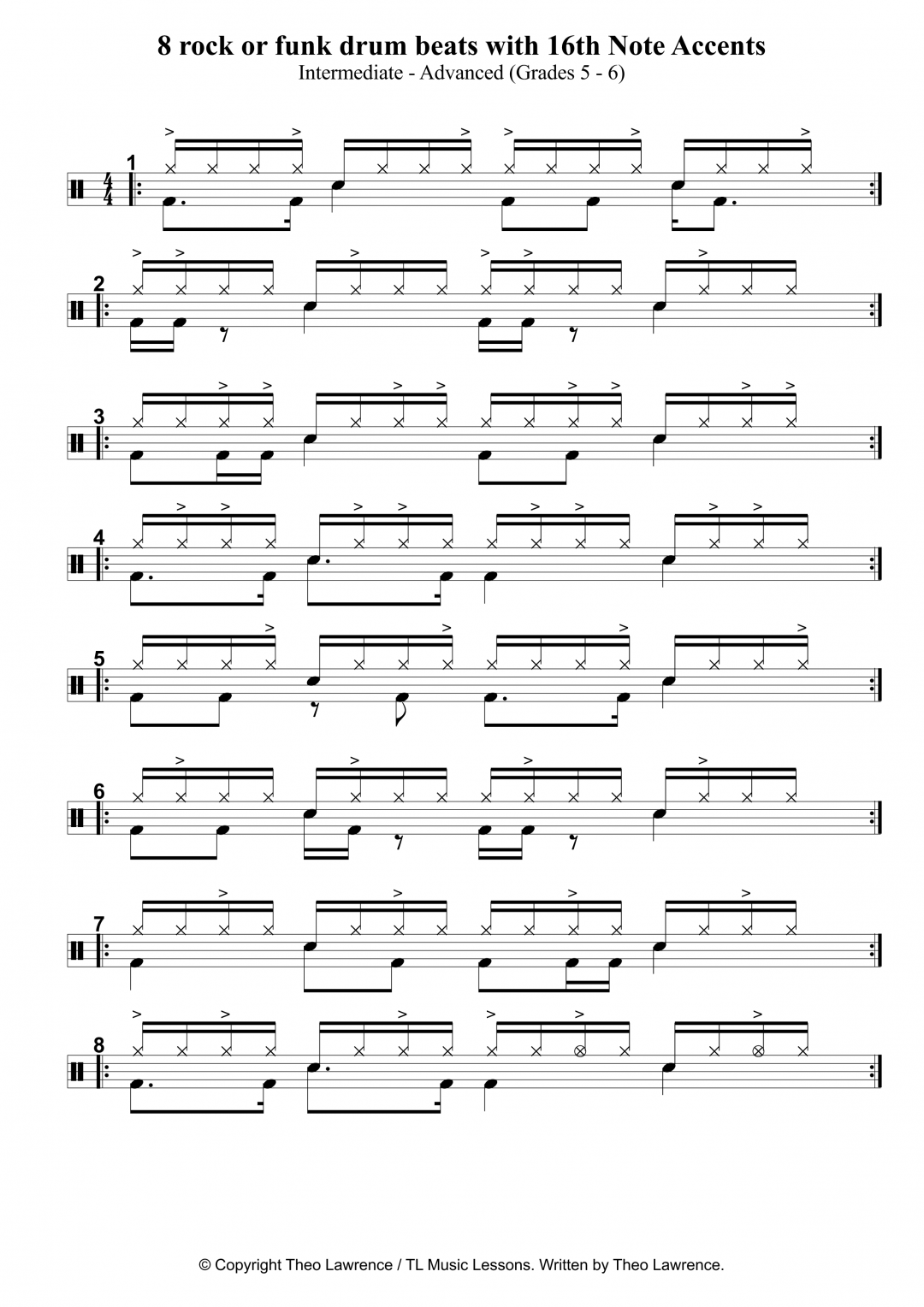 8 rock or funk drum beats with 16th Note Accents for grade 5 and up