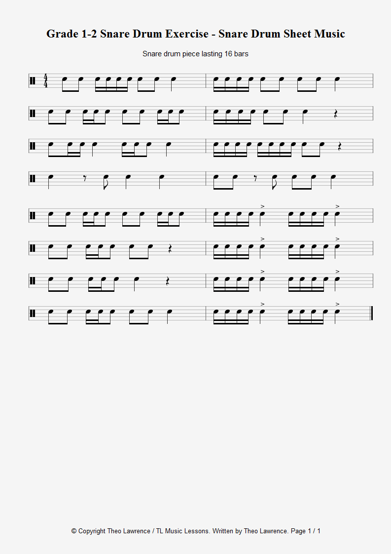 16 bar snare drum piece – Grade 1-2 Snare Drum Exercise – Snare Drum Sheet Music