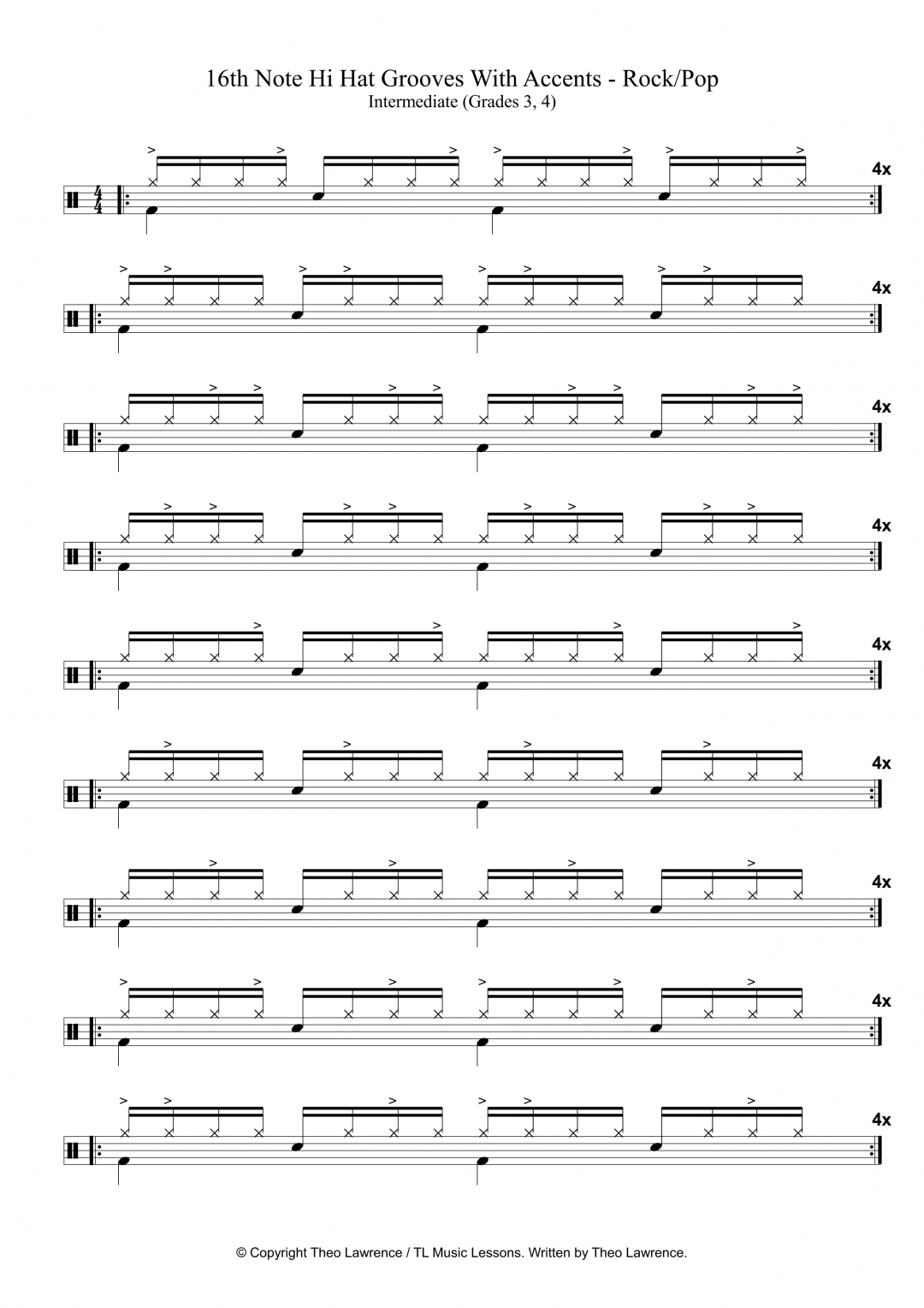 16th Note Hi Hat Grooves With Accents