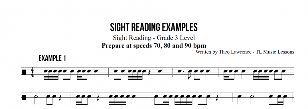 5 Sight Reading Example Tests for Rockschool Grade 3 Drums – Unofficial Practice Tests