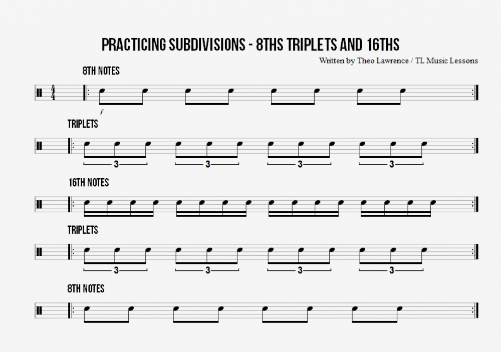 Snare Drum Subdivisions Exercise – 8ths, Triplets & 16th Notes