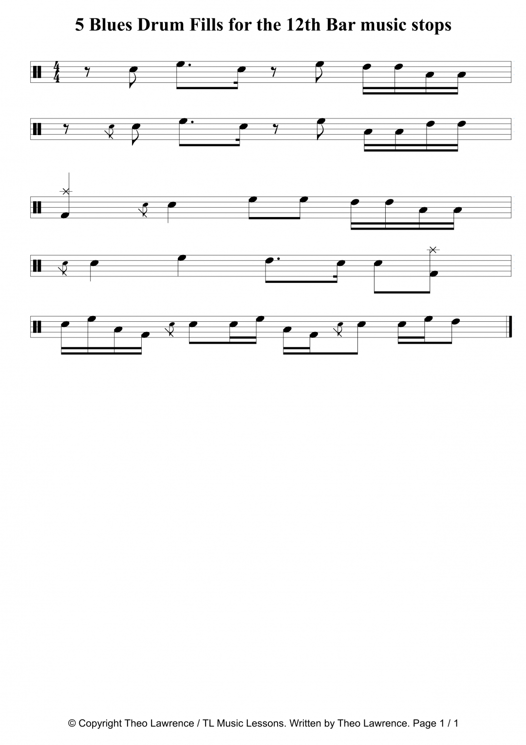5 Blues Drum Fills for the 12th Bar music stops