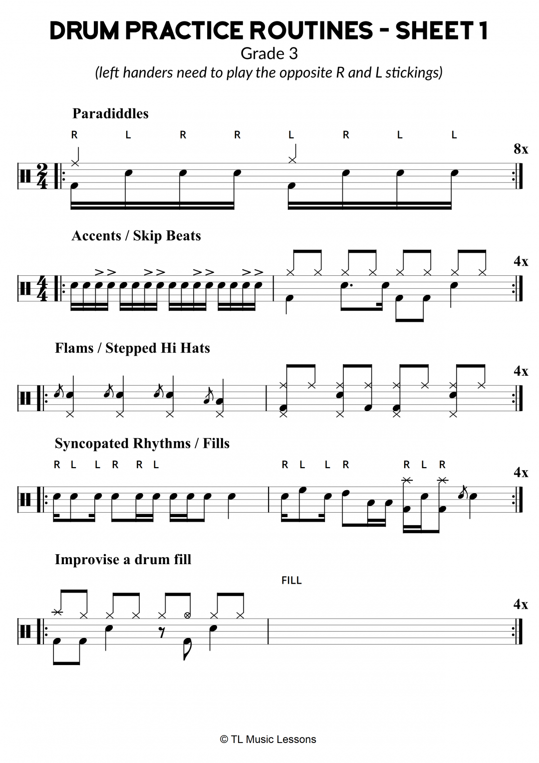 Drum Practice Routines – Sheet 1