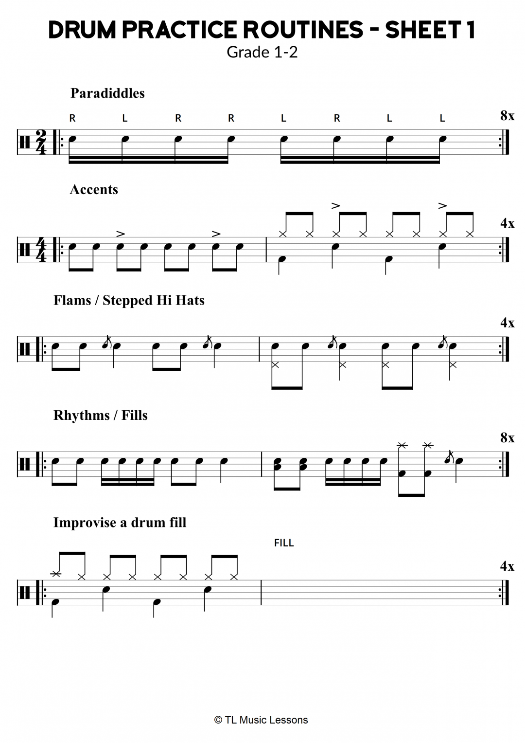 Drum Practice Routines – Sheet 1 – Grade 1-2