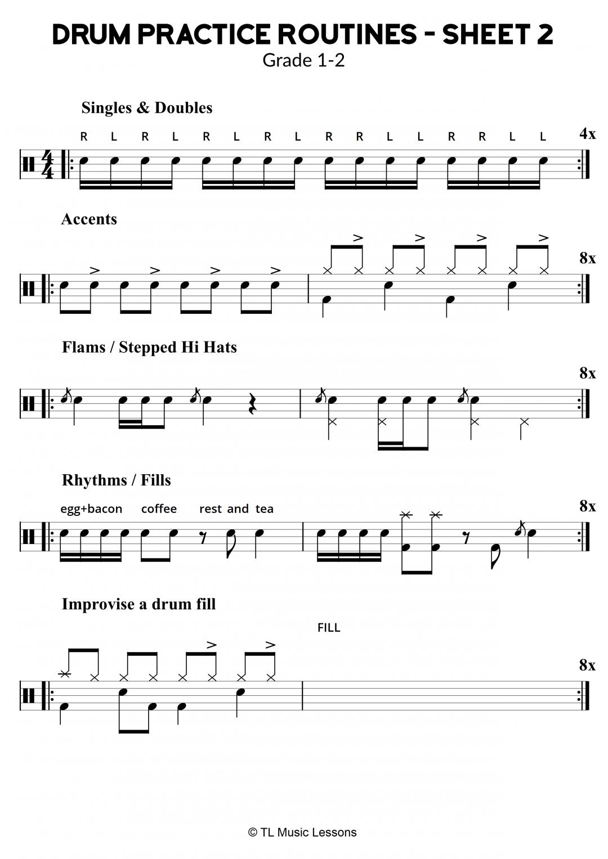 Drum Practice Routines – Sheet 2 – Grade 1-2