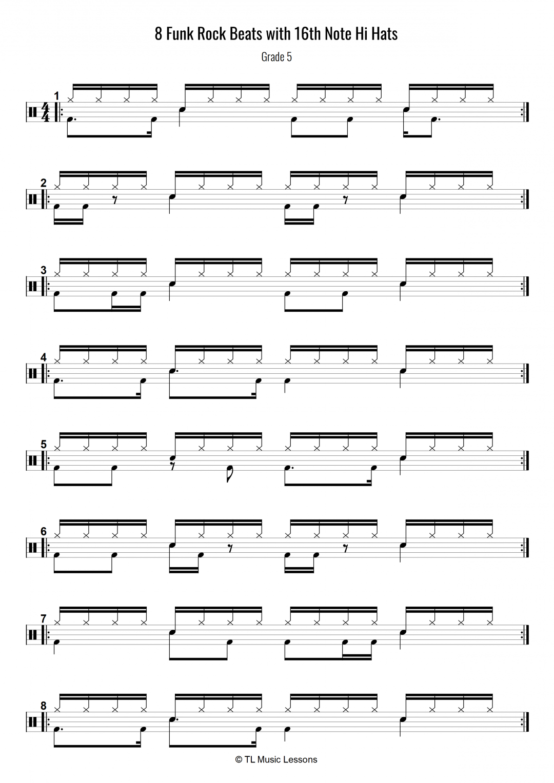8 funk rock drum beats with 16th note hi hats