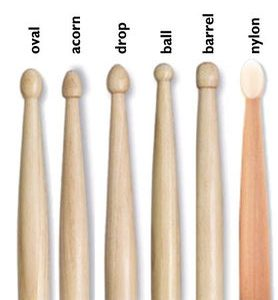 various drum stick tips including oval, acorn, drop, ball, barrel and nylon
