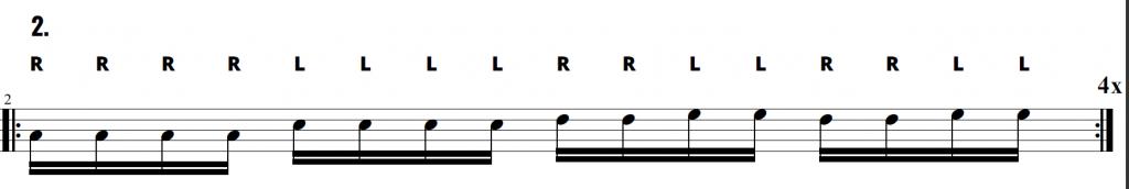 A drum fill exercise using a RRRR LLLL RRLLRRLL sticking pattern.