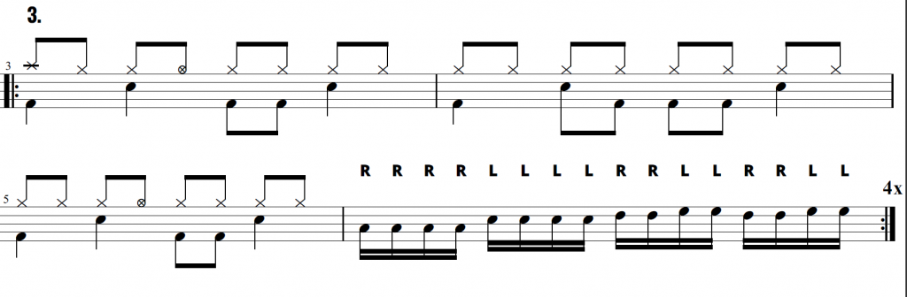 A 3 bar drum beat with open hi hats and drum fill exercise using Exercise 2 as the drum fill