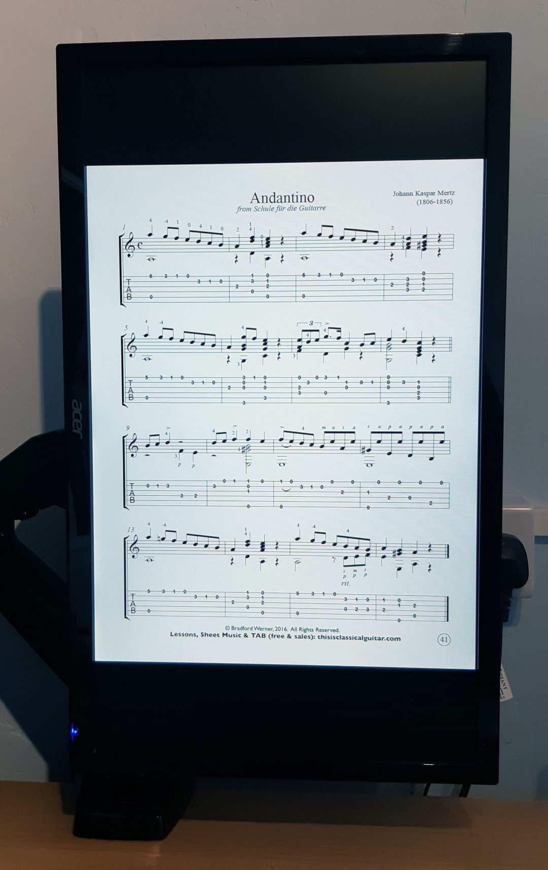 A Full Motion PC Monitor Arm can help you to read sheet music on your computer