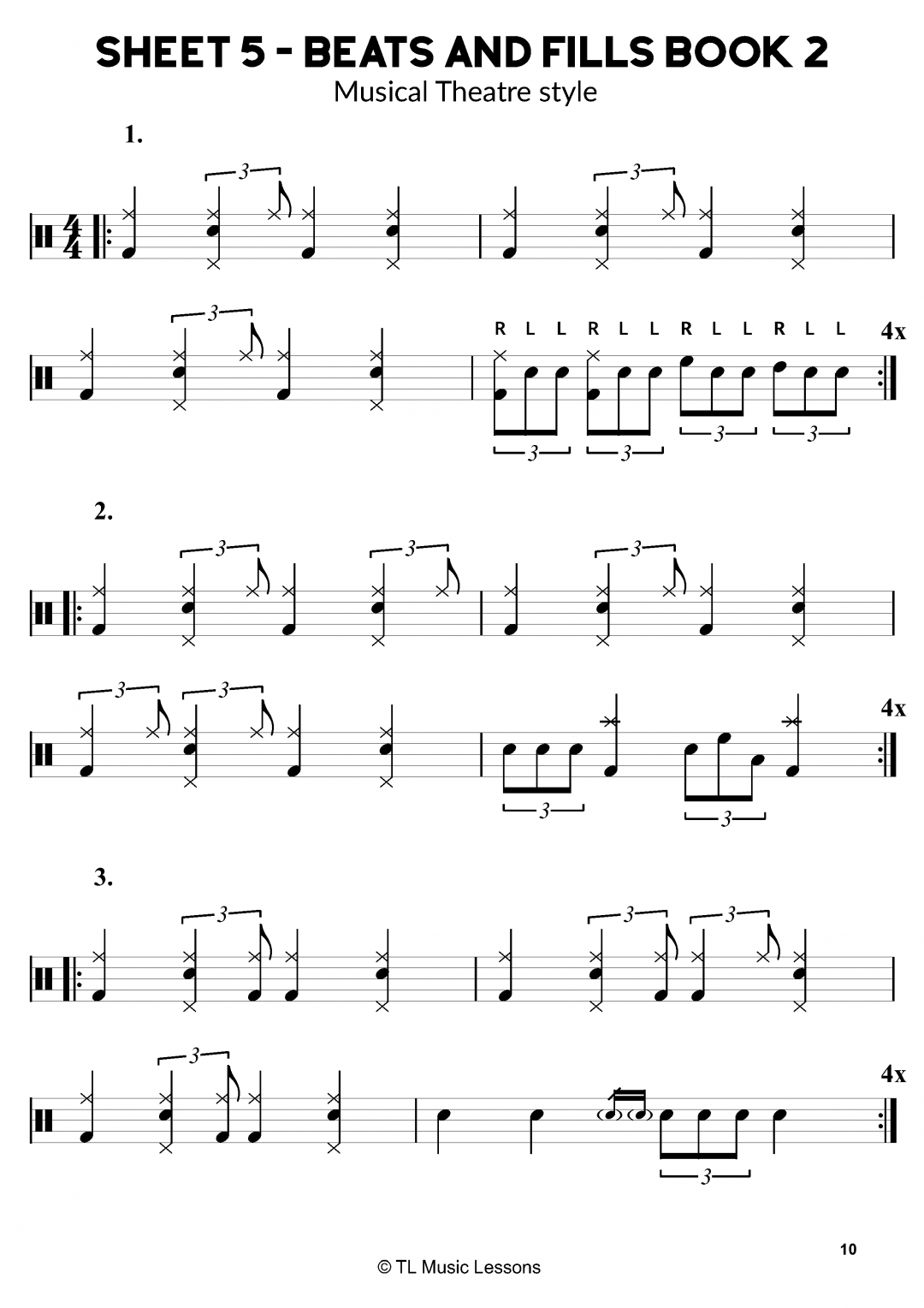 Musical Theatre Drum Beats and fills – Sheet 5 – 40 Beats and Fills Book 2