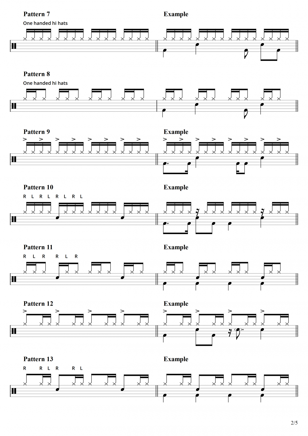 Page 2 – 25 Hi Hat Patterns with drum beat examples