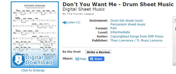 Don't You Want Me – The Human League – Drum Sheet Music [premium]